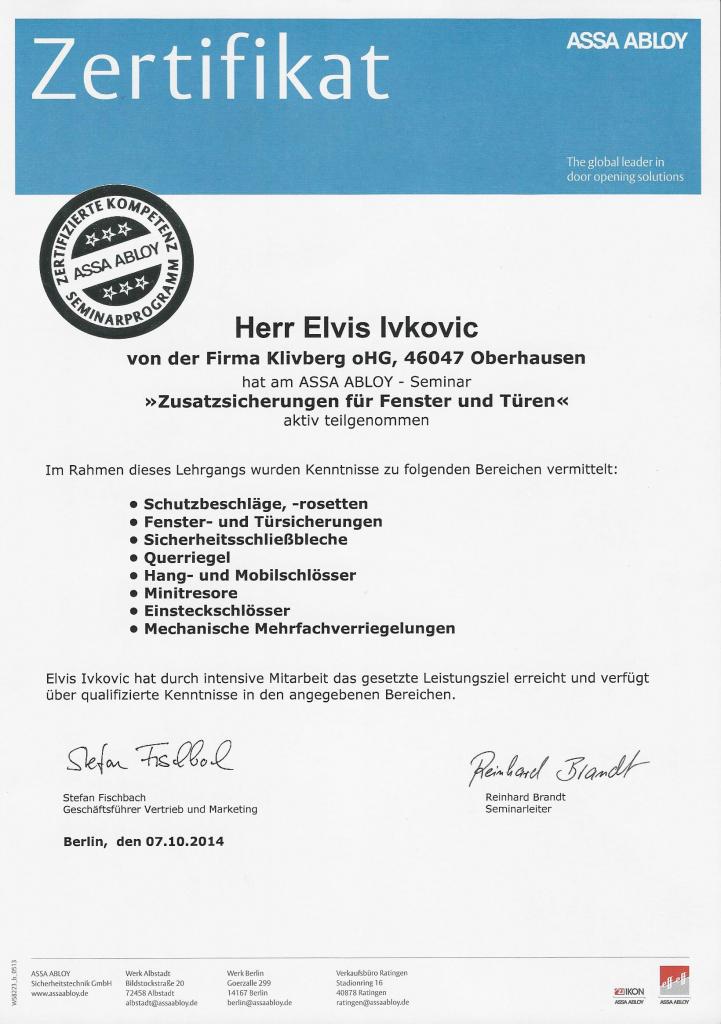 Zertifikat von Assa Abloy für die Monteure des Schlüsseldienst Duisburg.
