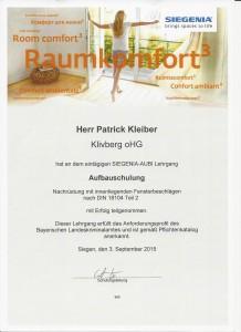 Pilzkopfverriegelung Urkunde - Siegenia Schulung